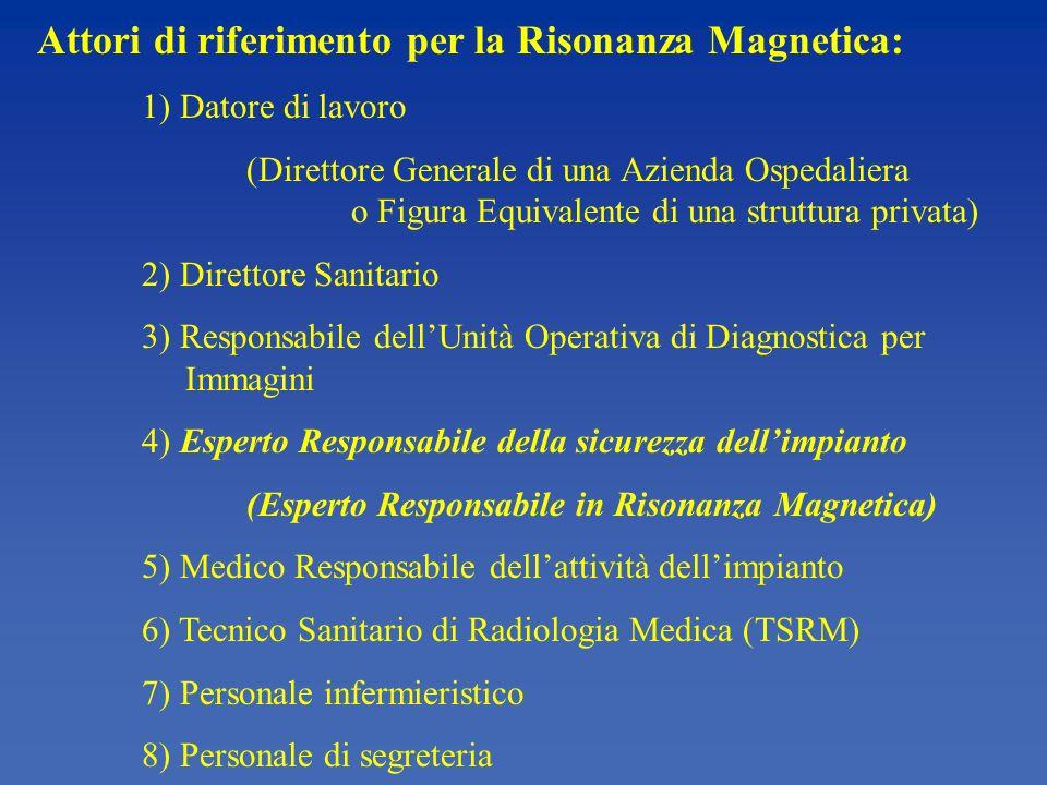 Attori di riferimento per la Risonanza Magnetica: 1) Datore di lavoro (Direttore Generale di una Azienda Ospedaliera o Figura Equivalente di una struttura privata) 2) Direttore Sanitario 3) Responsabile dellUnità Operativa di Diagnostica per Immagini 4) Esperto Responsabile della sicurezza dellimpianto (Esperto Responsabile in Risonanza Magnetica) 5) Medico Responsabile dellattività dellimpianto 6) Tecnico Sanitario di Radiologia Medica (TSRM) 7) Personale infermieristico 8) Personale di segreteria