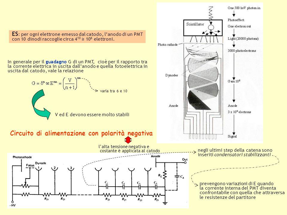 Funzionamento di un PMT può avvenire in modalità analogica modalità digitale dallanodo proviene un treno di impulsi quando lintervallo tra gli impulsi è più stretto della larghezza dei singoli impulsi o il circuito di analisi del segnale non è sufficientemente veloce, viene acquisita una corrente continua con fluttuazioni di rumore conteggio fotonico per un rate di irradiazione sufficientemente basso dallanodo provengono impulsi discreti in numero a quello dei fotoni incidenti vengono acquisiti come distinti luno dallaltro
