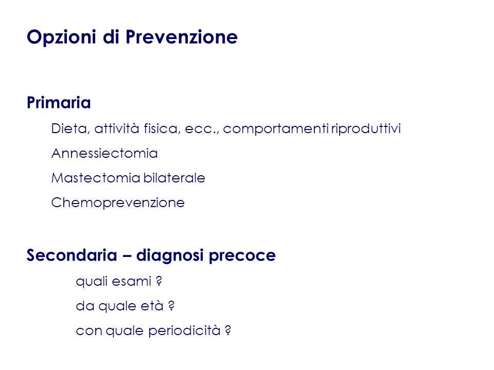 Opzioni di Prevenzione Primaria Dieta, attività fisica, ecc., comportamenti riproduttivi Annessiectomia Mastectomia bilaterale Chemoprevenzione Second