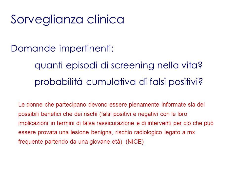 Sorveglianza clinica Domande impertinenti: quanti episodi di screening nella vita? probabilità cumulativa di falsi positivi? Le donne che partecipano