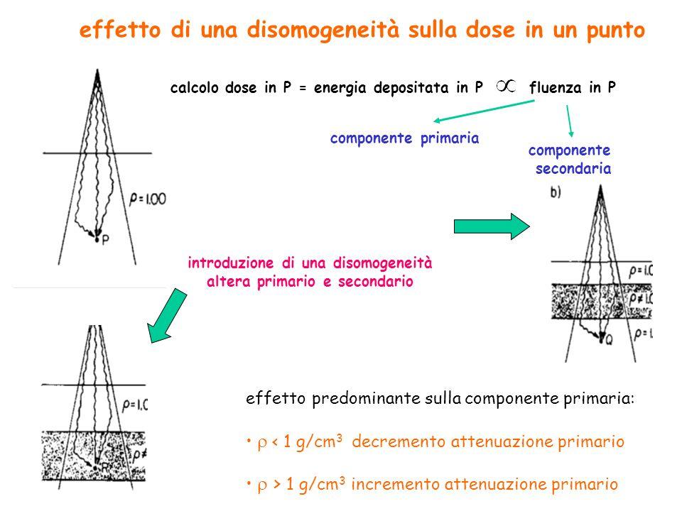 effetto di una disomogeneità sulla dose in un punto calcolo dose in P = energia depositata in P fluenza in P componente primaria componente secondaria introduzione di una disomogeneità altera primario e secondario effetto predominante sulla componente primaria: < 1 g/cm 3 decremento attenuazione primario > 1 g/cm 3 incremento attenuazione primario