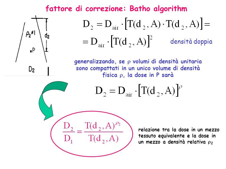 densità doppia generalizzando, se volumi di densità unitaria sono compattati in un unico volume di densità fisica, la dose in P sarà relazione tra la dose in un mezzo tessuto equivalente e la dose in un mezzo a densità relativa 2 fattore di correzione: Batho algorithm