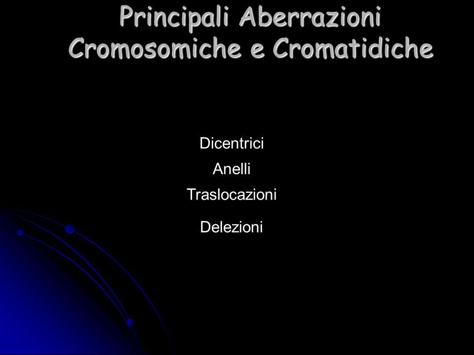 Dicentrici Anelli Traslocazioni Delezioni Principali Aberrazioni Cromosomiche e Cromatidiche