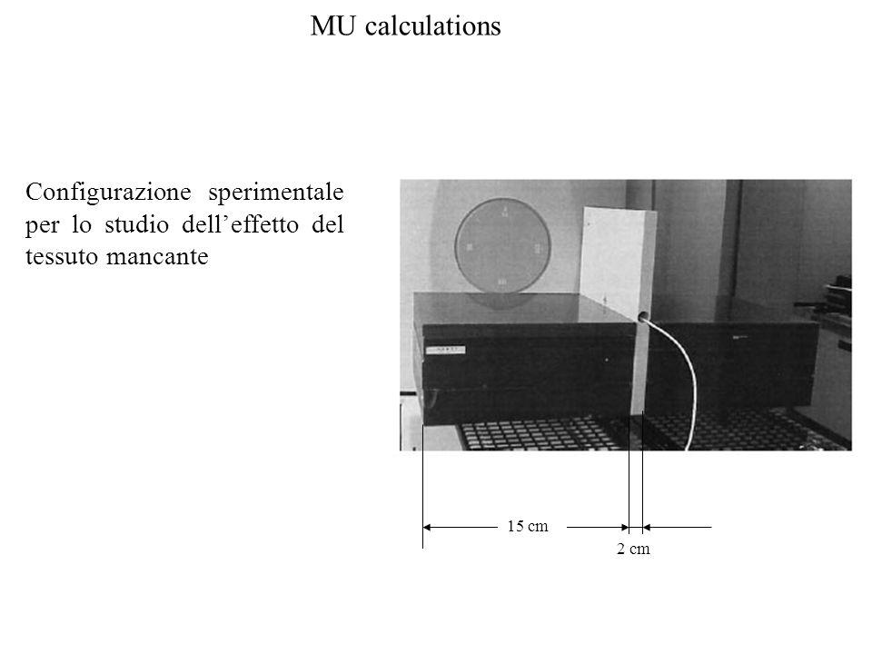 MU calculations Configurazione sperimentale per lo studio delleffetto del tessuto mancante 15 cm 2 cm