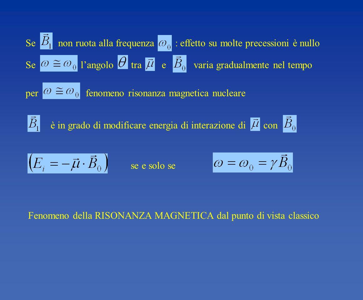 Se non ruota alla frequenza : effetto su molte precessioni è nullo Se langolo tra e varia gradualmente nel tempo per fenomeno risonanza magnetica nucl