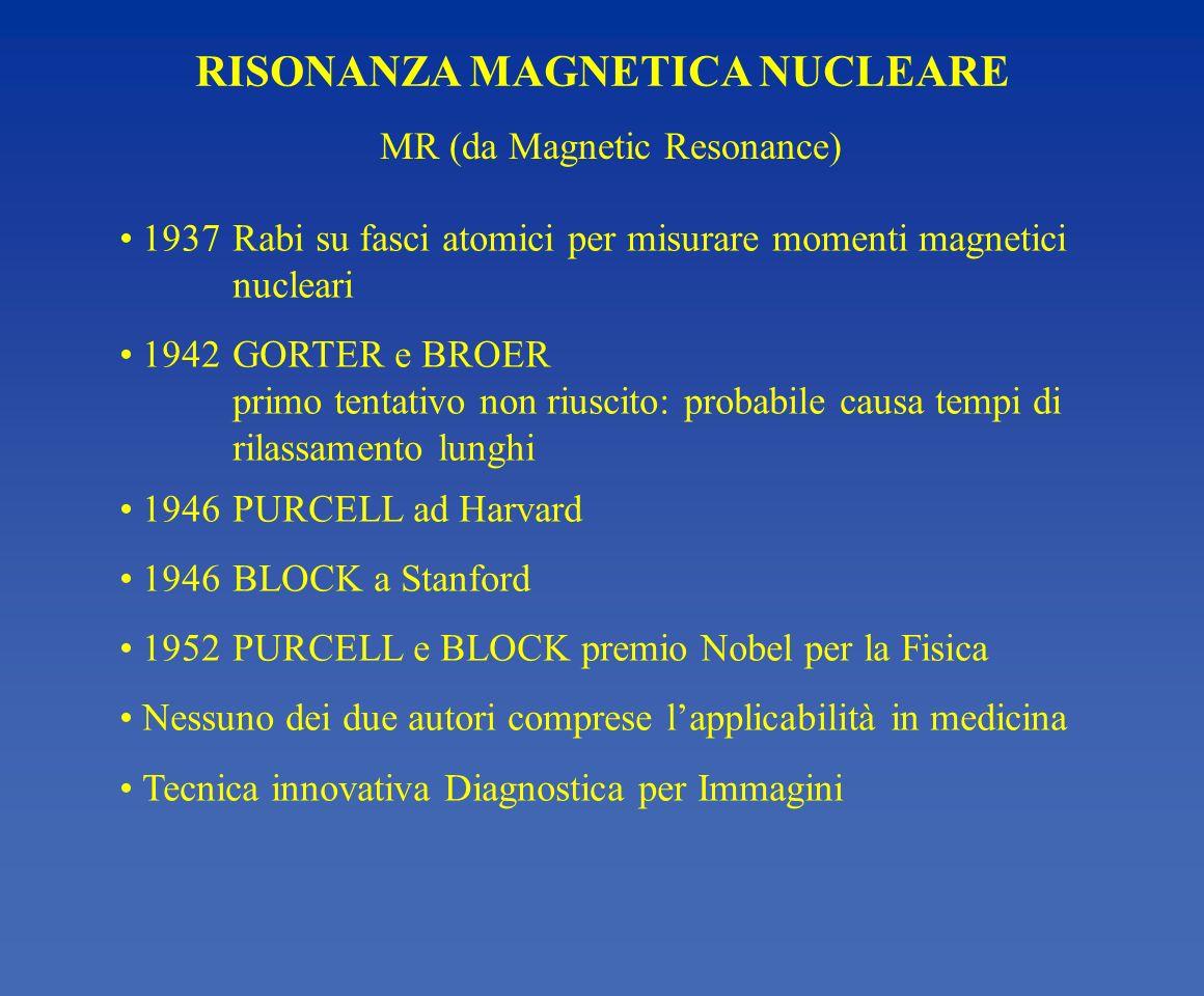 RISONANZA MAGNETICA NUCLEARE 1937Rabi su fasci atomici per misurare momenti magnetici nucleari 1942GORTER e BROER primo tentativo non riuscito: probab