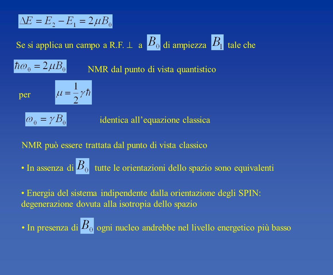 identica allequazione classica Se si applica un campo a R.F. a di ampiezza tale che In presenza di ogni nucleo andrebbe nel livello energetico più bas