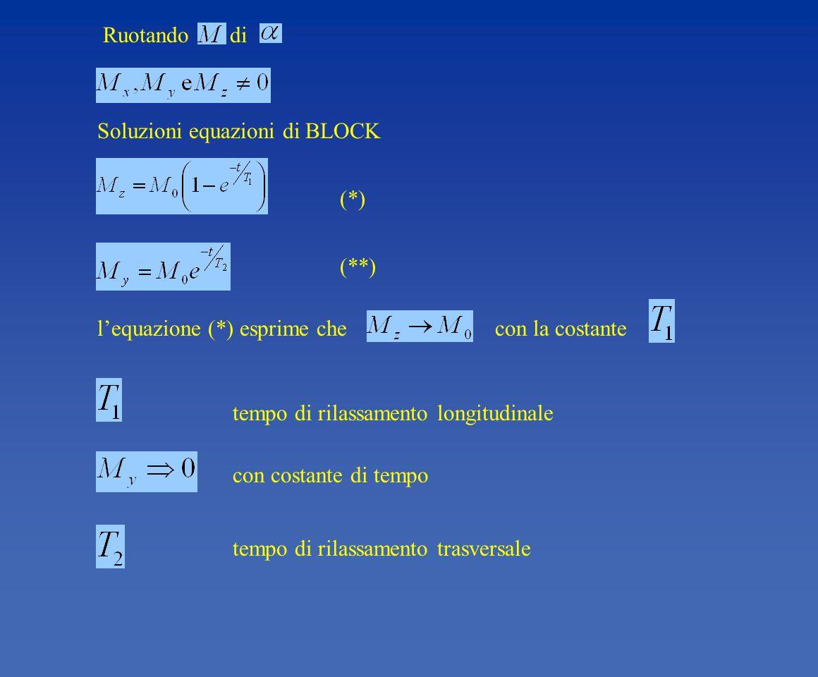 lequazione (*) esprime che con la costante tempo di rilassamento trasversale con costante di tempo tempo di rilassamento longitudinale (**) (*) Soluzi