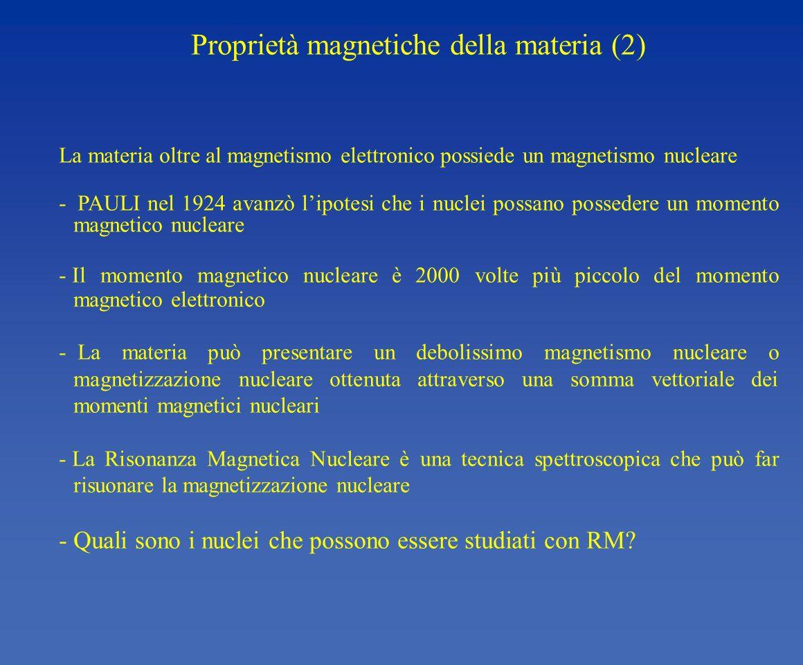 Proprietà magnetiche della materia (2) La materia oltre al magnetismo elettronico possiede un magnetismo nucleare - PAULI nel 1924 avanzò lipotesi che
