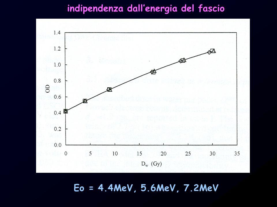 Eo = 4.4MeV, 5.6MeV, 7.2MeV indipendenza dallenergia del fascio