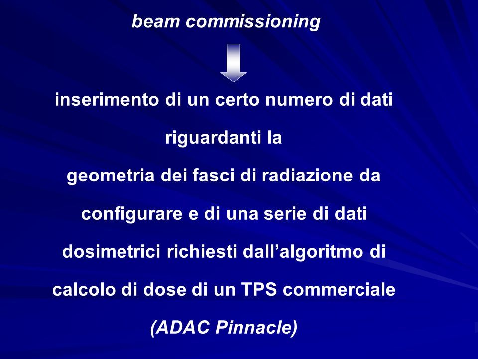 The goal of beam modelling is to adjuste approximately 30 parameters that generate calculated dose distributions so that these dose distributions approximate measured beam data to within a specified tolerance.