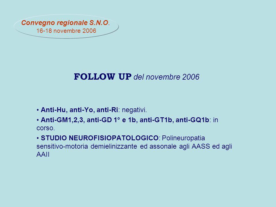 FOLLOW UP del novembre 2006 Anti-Hu, anti-Yo, anti-Ri: negativi.