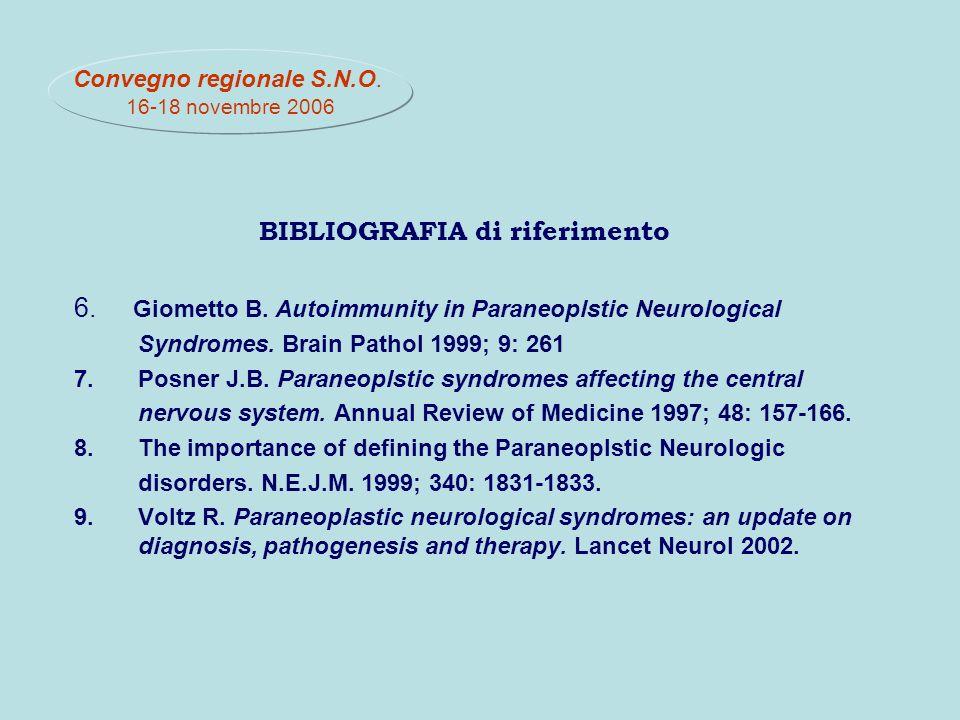 BIBLIOGRAFIA di riferimento 6.Giometto B. Autoimmunity in Paraneoplstic Neurological Syndromes.