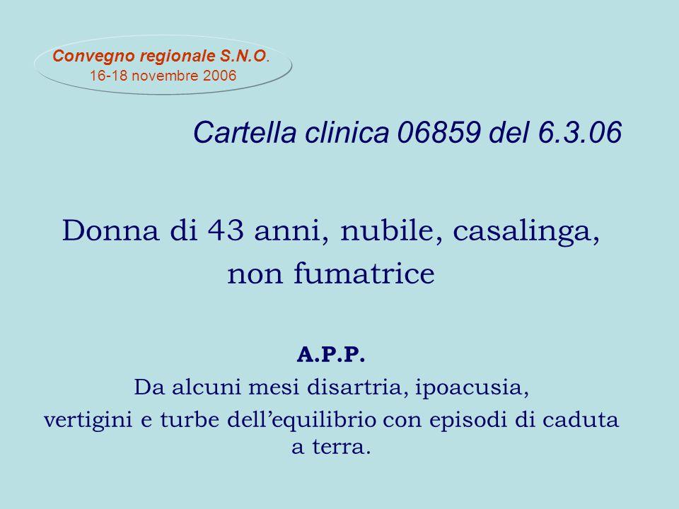 Cartella clinica 06859 del 6.3.06 Donna di 43 anni, nubile, casalinga, non fumatrice A.P.P.