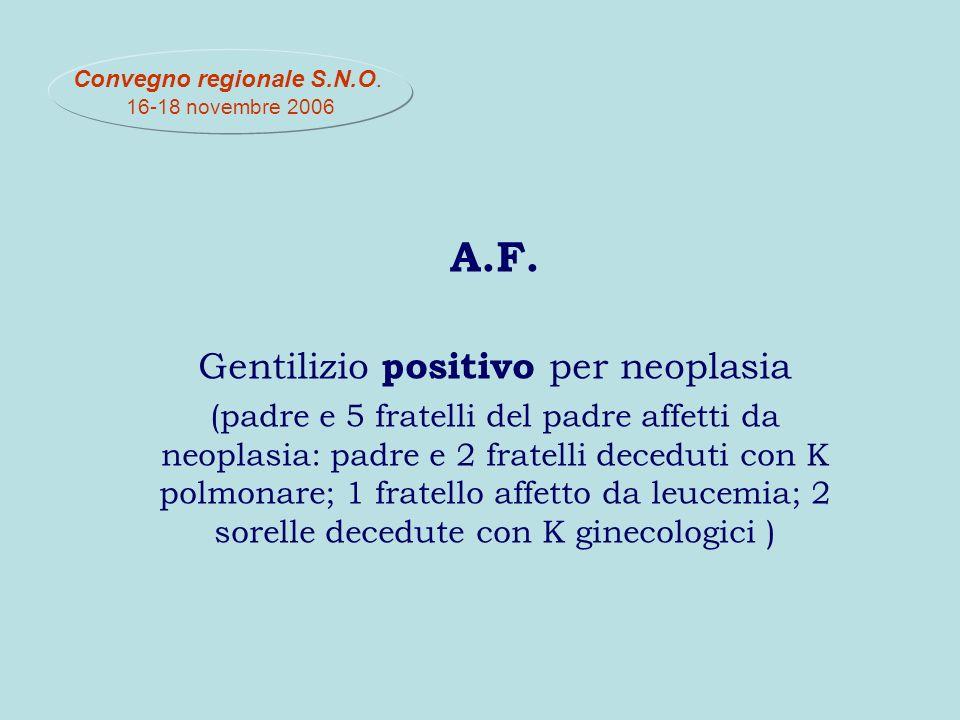 A.F. Gentilizio positivo per neoplasia (padre e 5 fratelli del padre affetti da neoplasia: padre e 2 fratelli deceduti con K polmonare; 1 fratello aff
