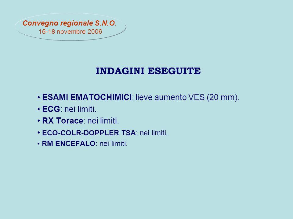 INDAGINI ESEGUITE ESAMI EMATOCHIMICI: lieve aumento VES (20 mm).