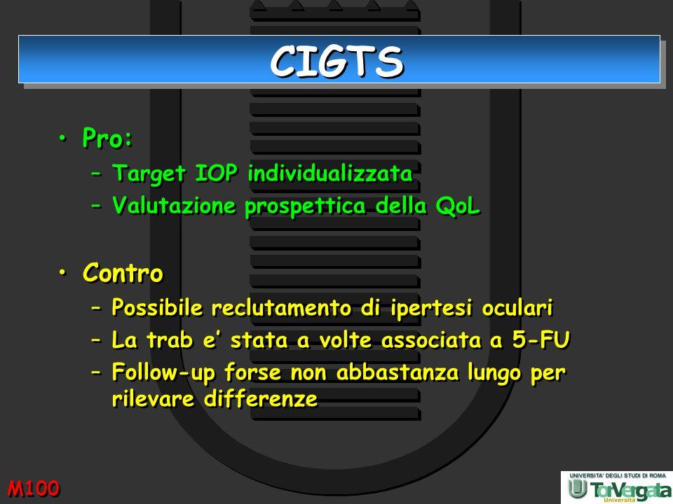 CIGTS Pro: –Target IOP individualizzata –Valutazione prospettica della QoL Contro –Possibile reclutamento di ipertesi oculari –La trab e stata a volte