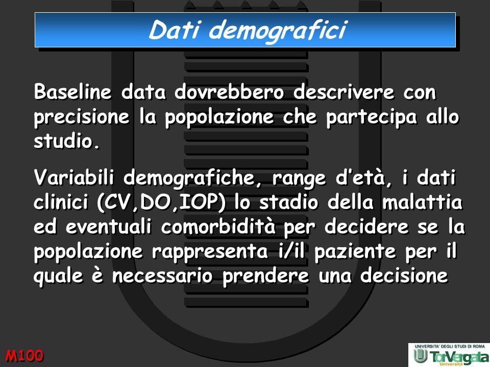 Dati demografici Baseline data dovrebbero descrivere con precisione la popolazione che partecipa allo studio. Variabili demografiche, range detà, i da