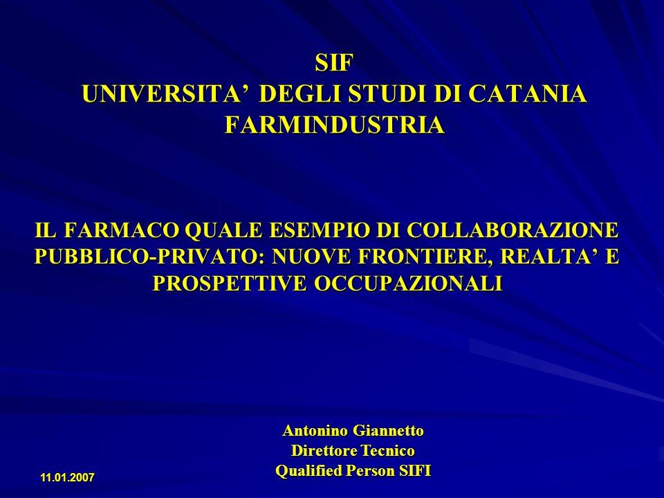 11.01.2007 SIF UNIVERSITA DEGLI STUDI DI CATANIA FARMINDUSTRIA La produzione di farmaci nella UE è regolamentata dalla direttiva 2001/83/CE, recepita dallItalia con il Decreto Legislativo 24 aprile 2006, n.