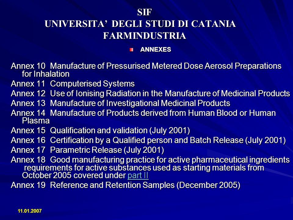11.01.2007 SIF UNIVERSITA DEGLI STUDI DI CATANIA FARMINDUSTRIA ANNEXES Annex 10 Manufacture of Pressurised Metered Dose Aerosol Preparations for Inhal