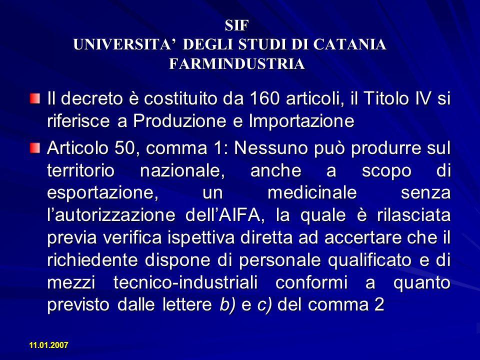 11.01.2007 SIF UNIVERSITA DEGLI STUDI DI CATANIA FARMINDUSTRIA La produzione farmaceutica in Italia Laumento di risorse destinate a Ricerca e Sviluppo nel biennio 2004-2005, in media annua, è stato: - Spese R&S + 8.5% - Addetti R&S + 4.6%