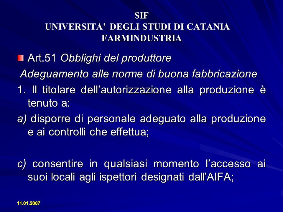 11.01.2007 SIF UNIVERSITA DEGLI STUDI DI CATANIA FARMINDUSTRIA Capo II Linee guida sulle norme di buona fabbricazione Art.