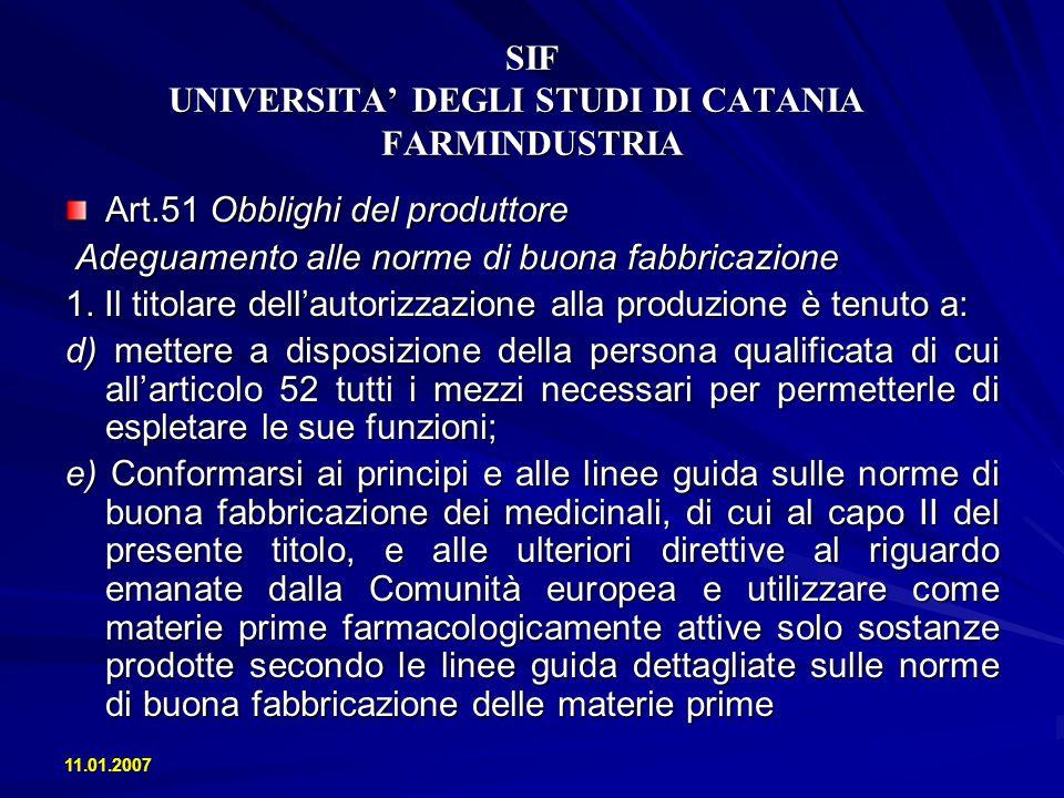 11.01.2007 SIF UNIVERSITA DEGLI STUDI DI CATANIA FARMINDUSTRIA Art.