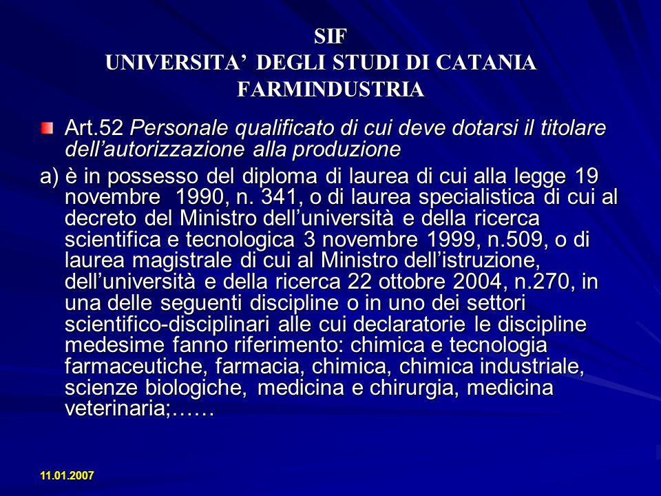 11.01.2007 SIF UNIVERSITA DEGLI STUDI DI CATANIA FARMINDUSTRIA - La crescita della produzione ha trovato un positivo riscontro anche in quella delloccupazione (+1%) e degli investimenti (+5%)