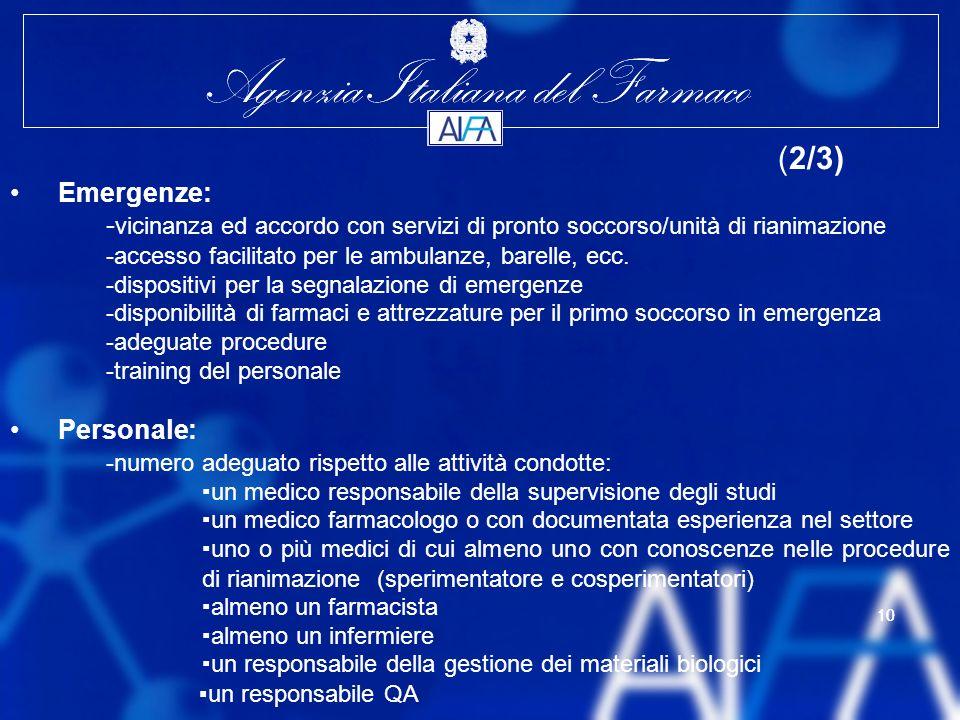 Agenzia Italiana del Farmaco 10 Agenzia Italiana del Farmaco 10 (2/3) Emergenze: - vicinanza ed accordo con servizi di pronto soccorso/unità di rianimazione -accesso facilitato per le ambulanze, barelle, ecc.