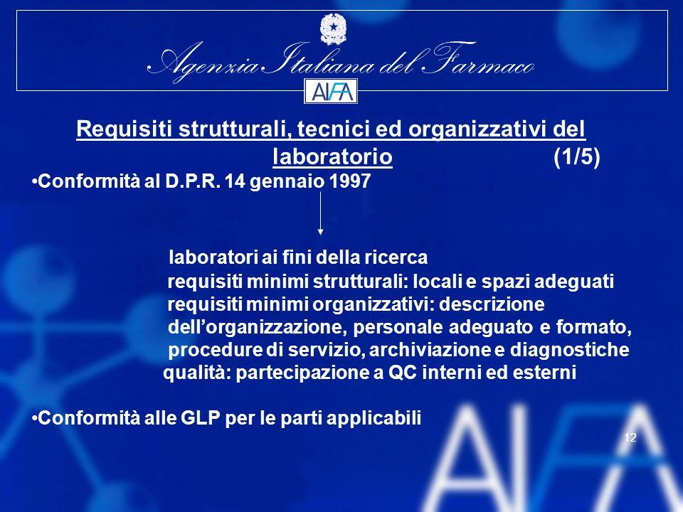 Agenzia Italiana del Farmaco 12 Agenzia Italiana del Farmaco 12 Requisiti strutturali, tecnici ed organizzativi del laboratorio (1/5) Conformità al D.P.R.