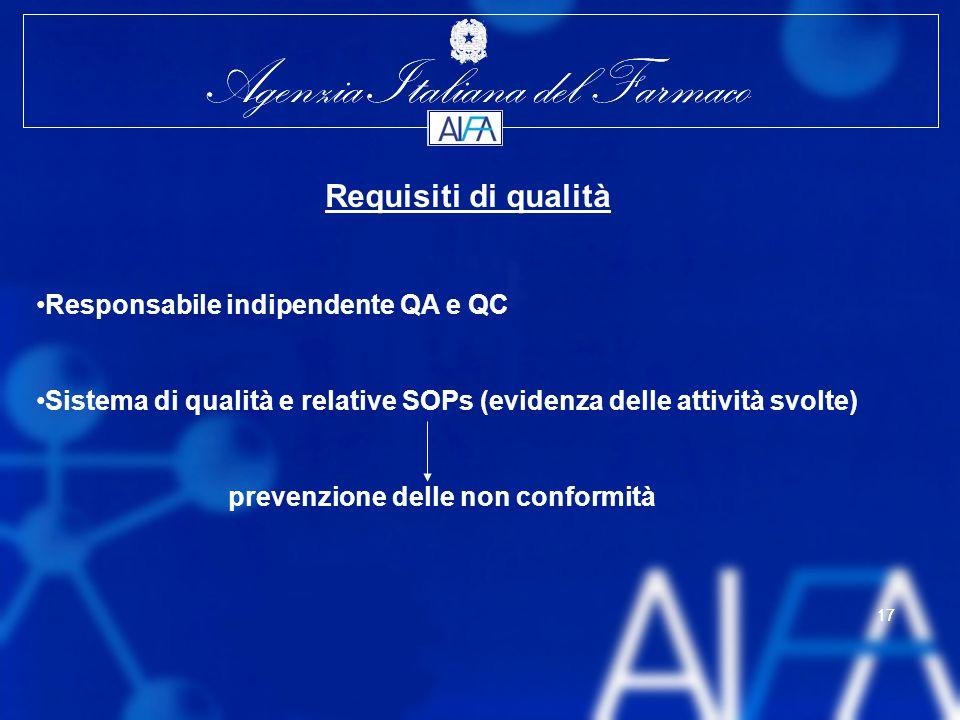Agenzia Italiana del Farmaco 17 Agenzia Italiana del Farmaco 17 Requisiti di qualità Responsabile indipendente QA e QC Sistema di qualità e relative SOPs (evidenza delle attività svolte) prevenzione delle non conformità