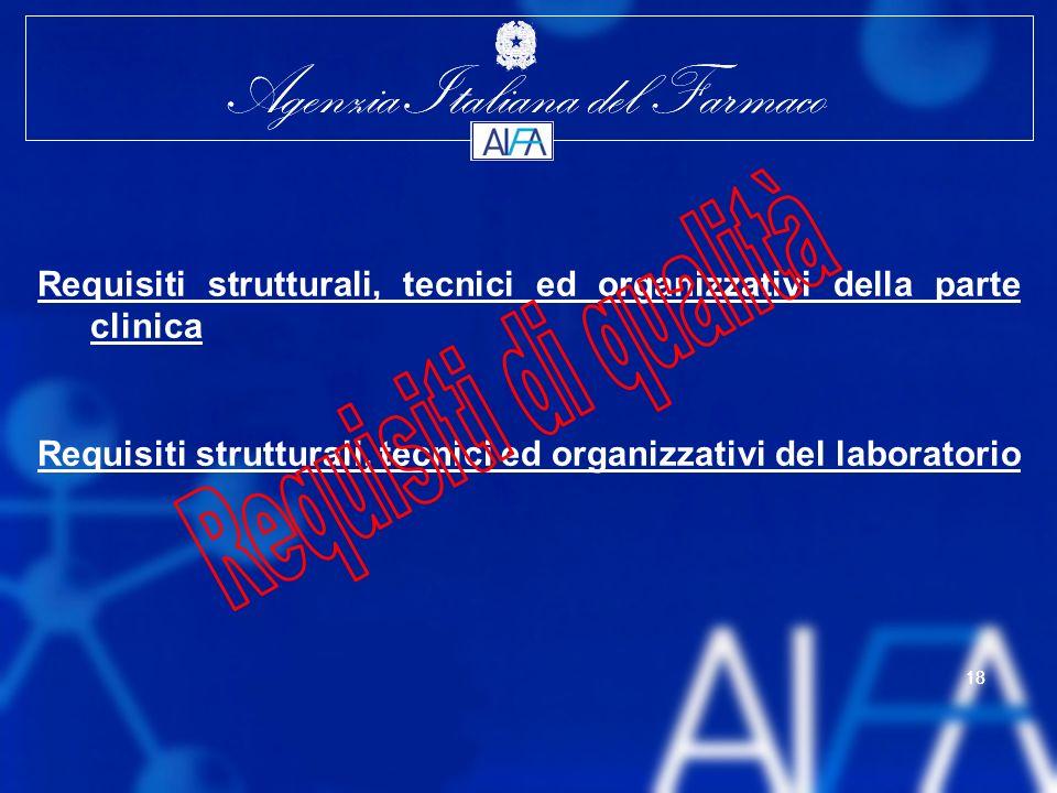 Agenzia Italiana del Farmaco 18 Agenzia Italiana del Farmaco 18 Requisiti strutturali, tecnici ed organizzativi della parte clinica Requisiti strutturali, tecnici ed organizzativi del laboratorio