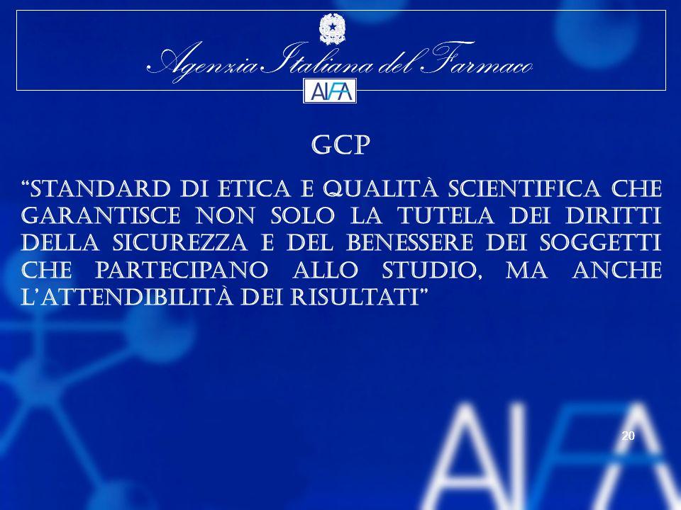 Agenzia Italiana del Farmaco 20 Agenzia Italiana del Farmaco 20 GCP Standard di etica e qualità scientifica che garantisce non solo la tutela dei diritti della sicurezza e del benessere dei soggetti che partecipano allo studio, ma anche lattendibilità dei risultati