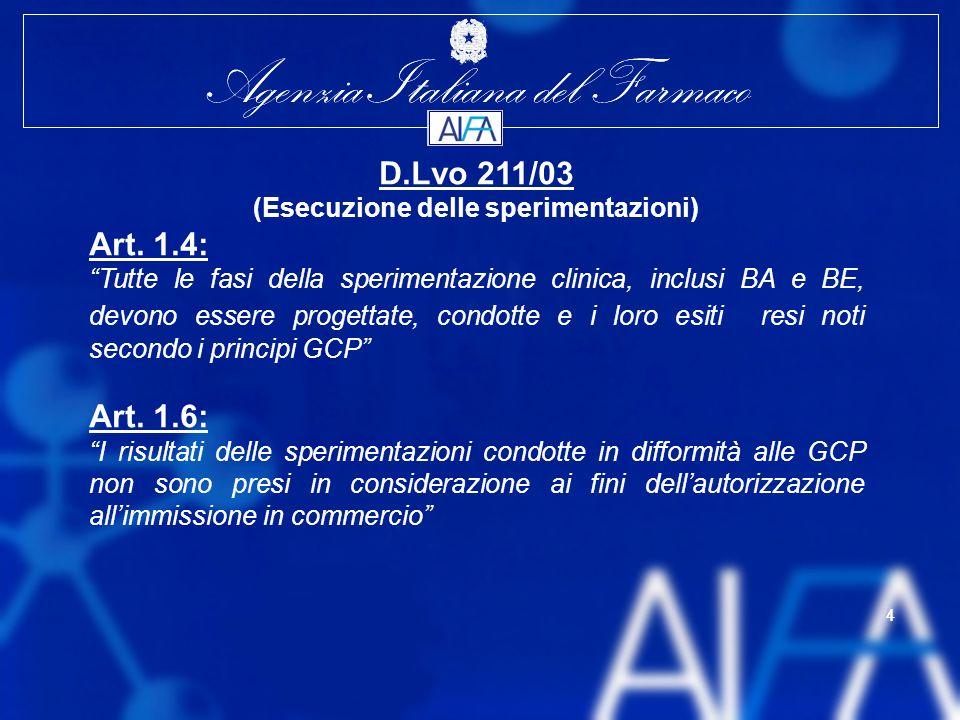 Agenzia Italiana del Farmaco 4 4 D.Lvo 211/03 (Esecuzione delle sperimentazioni) Art.
