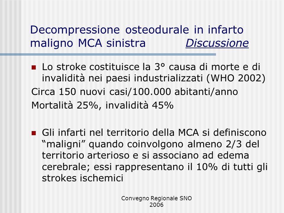 Convegno Regionale SNO 2006 Decompressione osteodurale in infarto maligno MCA sinistra Discussione Lo stroke costituisce la 3° causa di morte e di inv
