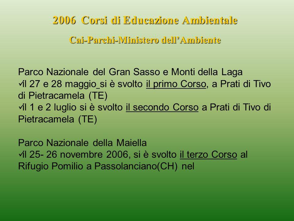 2006 Corsi di Educazione Ambientale Cai-Parchi-Ministero dellAmbiente Parco Nazionale del Gran Sasso e Monti della Laga il 27 e 28 maggio si è svolto