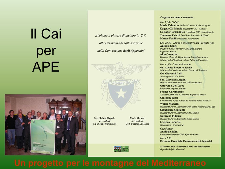 Il Cai per APE Un progetto per le montagne del Mediterraneo