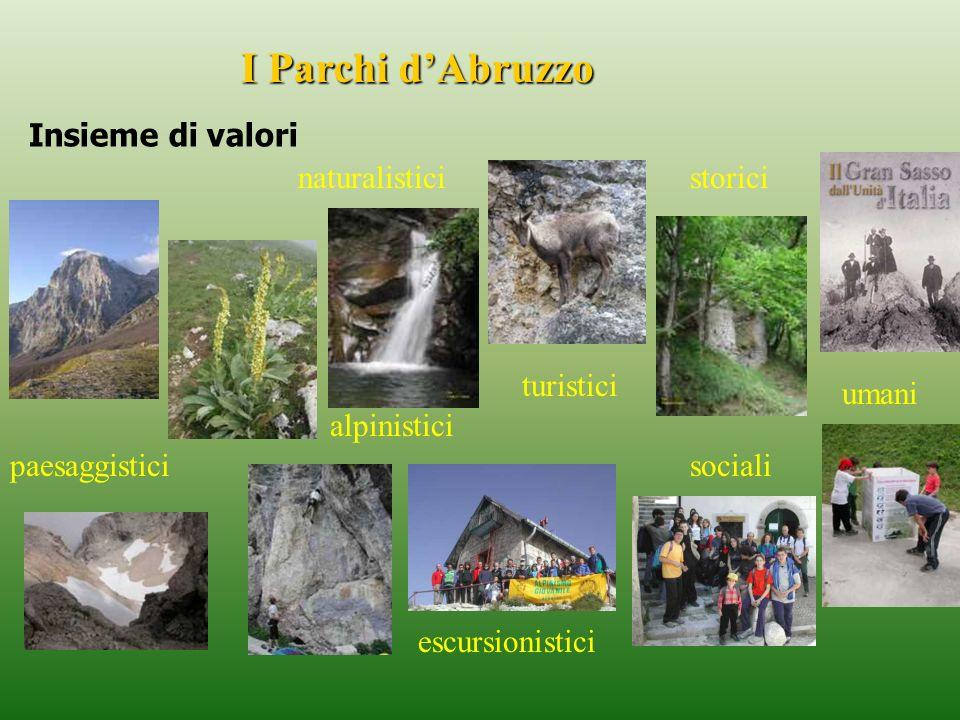 storici turistici umani naturalistici paesaggistici I Parchi dAbruzzo Insieme di valori escursionistici alpinistici sociali