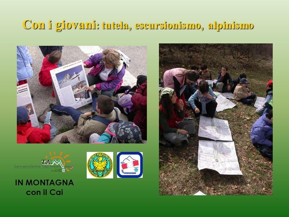 Con i giovani : tutela, escursionismo, alpinismo IN MONTAGNA con il Cai