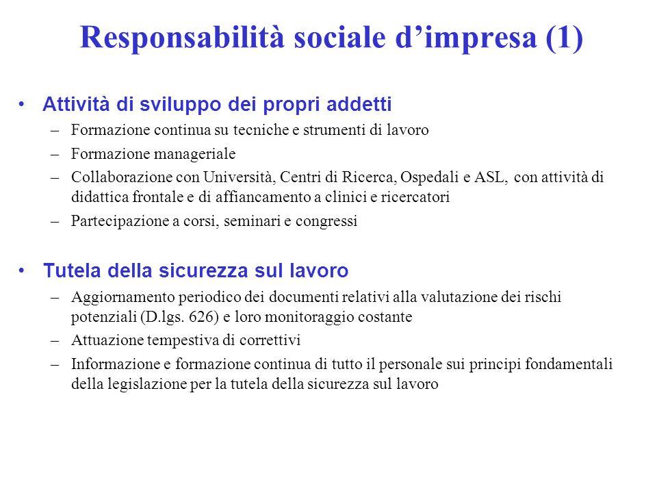 Responsabilità sociale dimpresa (1) Attività di sviluppo dei propri addetti –Formazione continua su tecniche e strumenti di lavoro –Formazione manager