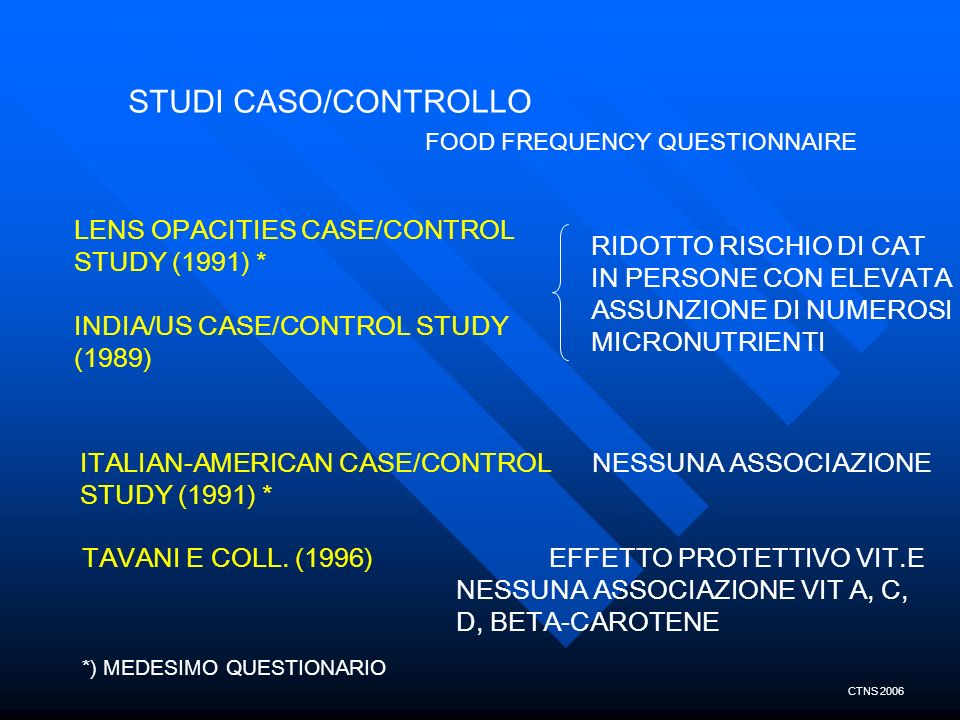 STUDI CASO/CONTROLLO FOOD FREQUENCY QUESTIONNAIRE LENS OPACITIES CASE/CONTROL STUDY (1991) * INDIA/US CASE/CONTROL STUDY (1989) RIDOTTO RISCHIO DI CAT
