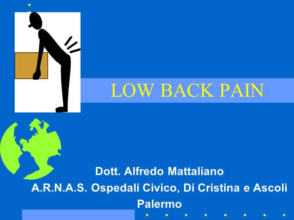 Low Back Pain Si potrebbe pensare che oggi il problema della diagnosi e del trattamento sia stato risolto, ma largomento rimane ancora nebuloso e con tante incertezze –Rosomoff HL, Rosomoff RS.
