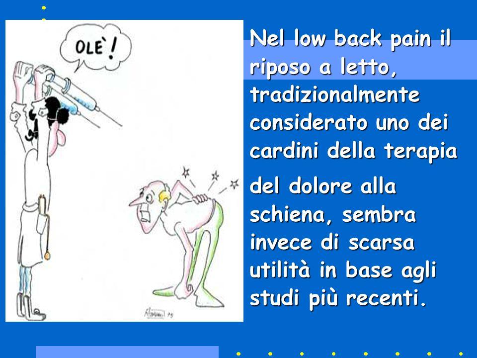 Nel low back pain il riposo a letto, tradizionalmente considerato uno dei cardini della terapia del dolore alla schiena, sembra invece di scarsa utili