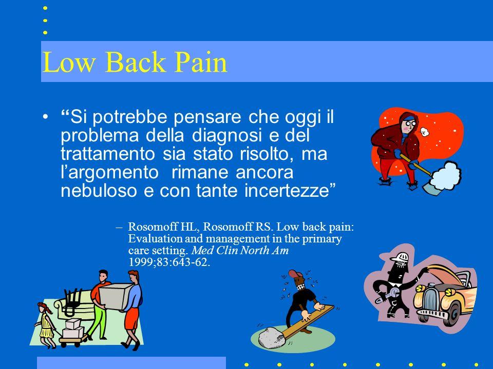 Low Back Pain Sintomatico Funzionale (non specifico) Spondilite anchilosante Fratture osteoporotiche Stenosi spinale Tumori ossei Disturbi di organi addominali Malattie infettive (osteomielite)