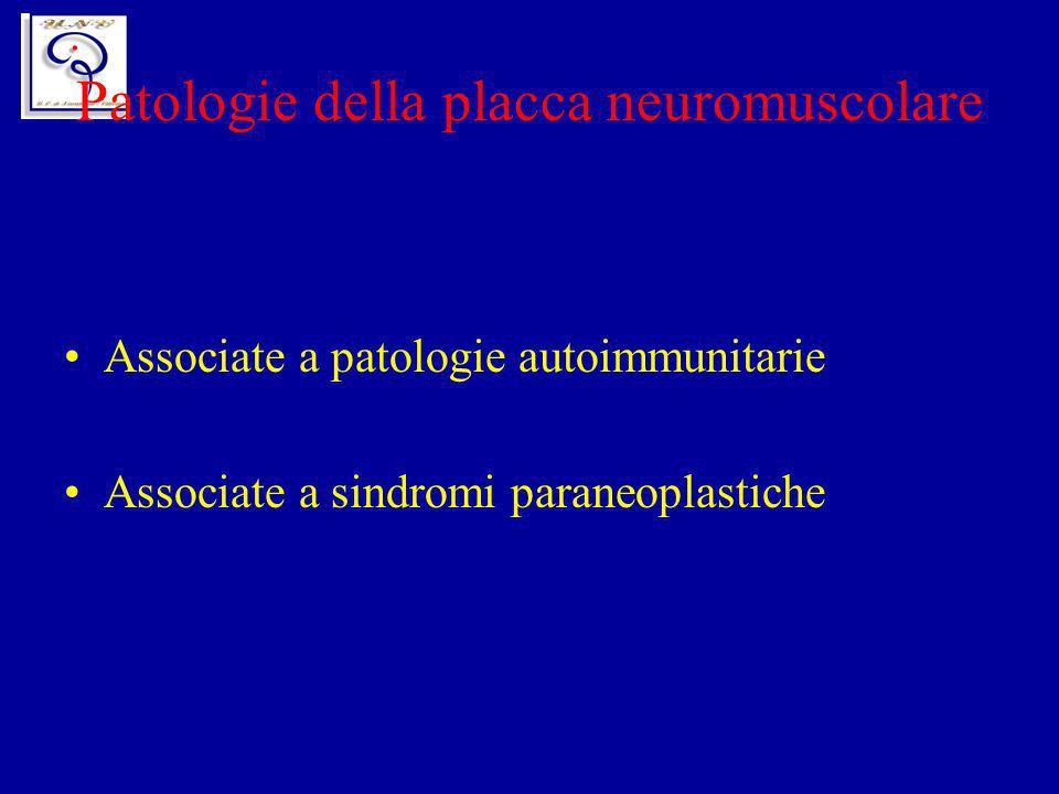 Patologie della placca neuromuscolare Associate a patologie autoimmunitarie Associate a sindromi paraneoplastiche