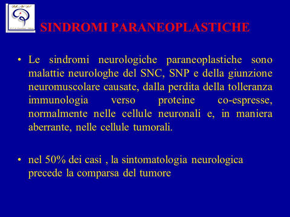 SINDROMI PARANEOPLASTICHE Le sindromi neurologiche paraneoplastiche sono malattie neurologhe del SNC, SNP e della giunzione neuromuscolare causate, da