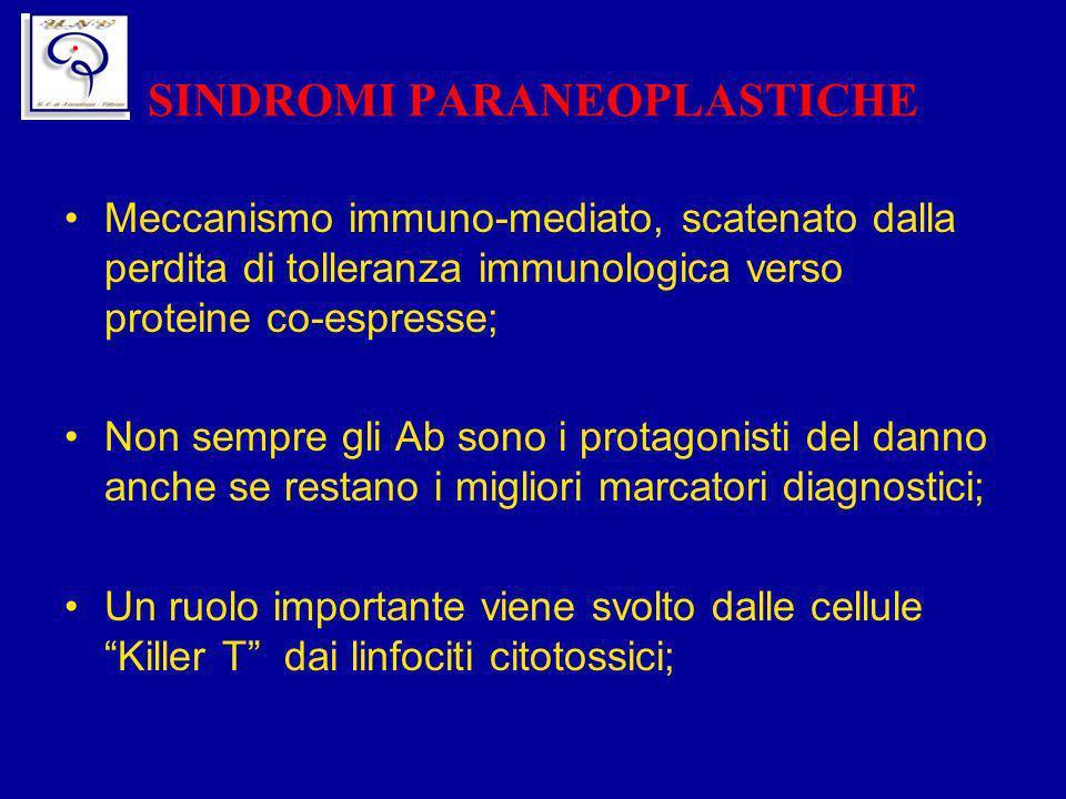 SINDROMI PARANEOPLASTICHE Meccanismo immuno-mediato, scatenato dalla perdita di tolleranza immunologica verso proteine co-espresse; Non sempre gli Ab