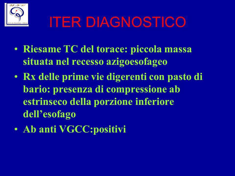 ITER DIAGNOSTICO Riesame TC del torace: piccola massa situata nel recesso azigoesofageo Rx delle prime vie digerenti con pasto di bario: presenza di c