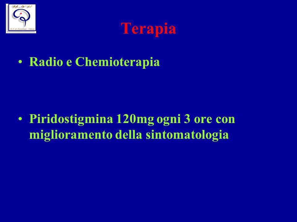 Terapia Radio e Chemioterapia Piridostigmina 120mg ogni 3 ore con miglioramento della sintomatologia