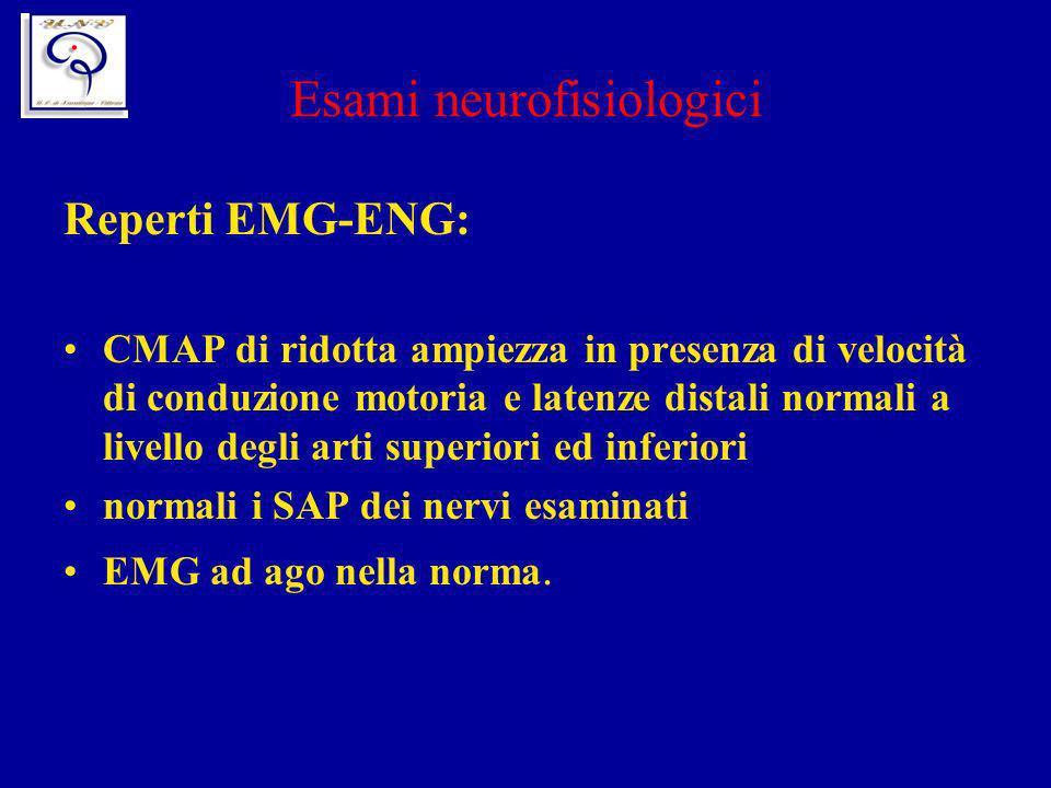 Esami neurofisiologici Reperti EMG-ENG: CMAP di ridotta ampiezza in presenza di velocità di conduzione motoria e latenze distali normali a livello deg